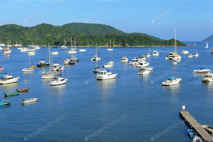 yachts in bay