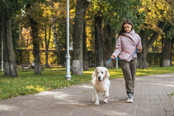 junge Frau geht mit Blindenhund im Park