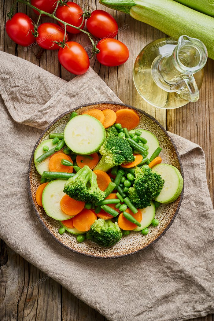 Mix of boiled vegetables, steam vegetables for dietary low-calorie diet. Broccoli