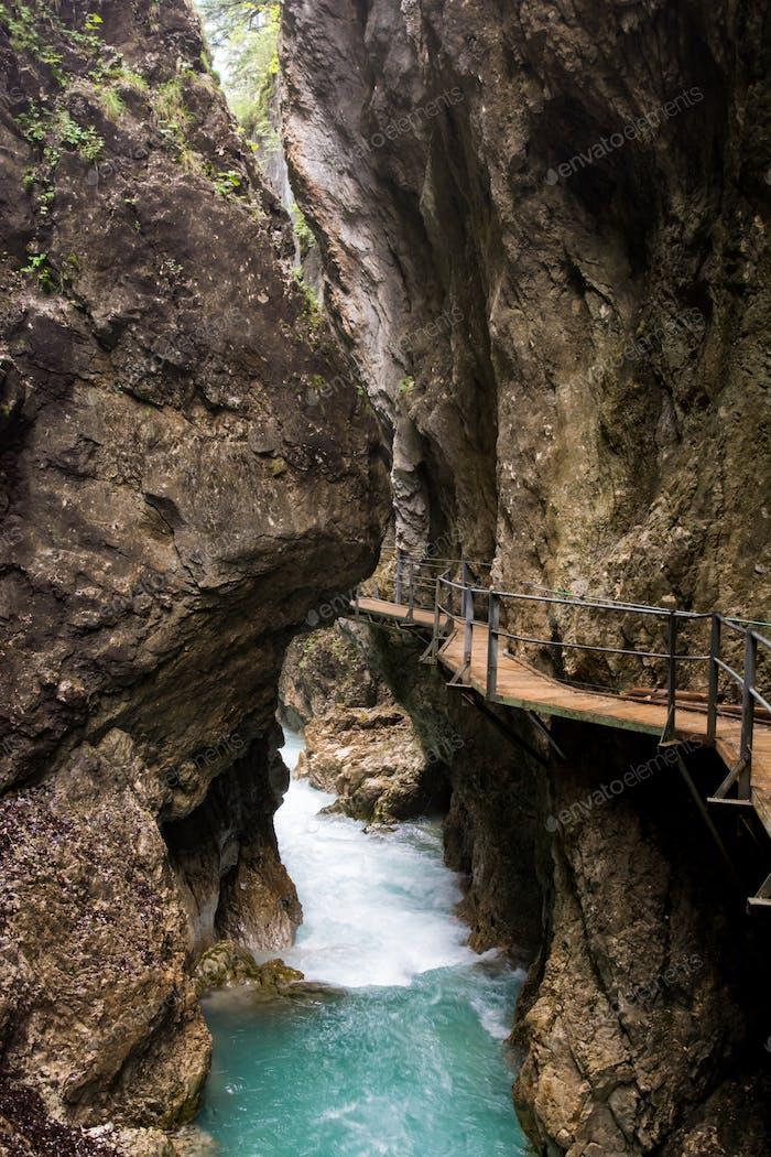 Walkway through the Leutasch Gorge