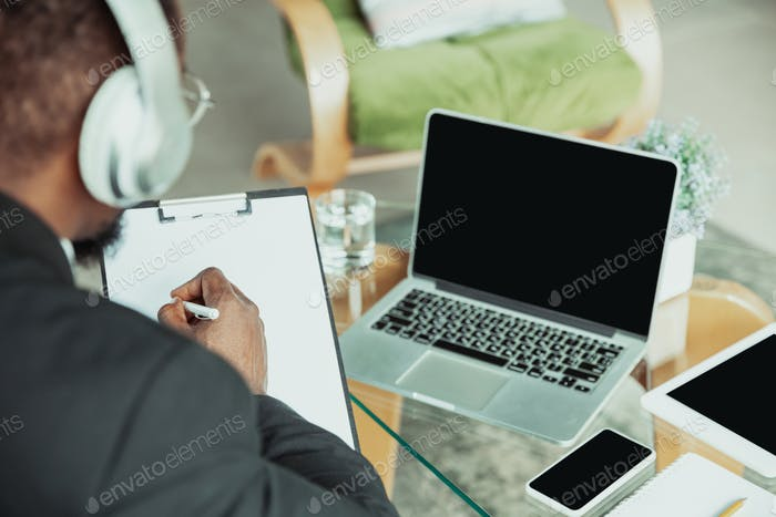 Top view of businessman or student working from home while being isolated or keep quarantine &#39