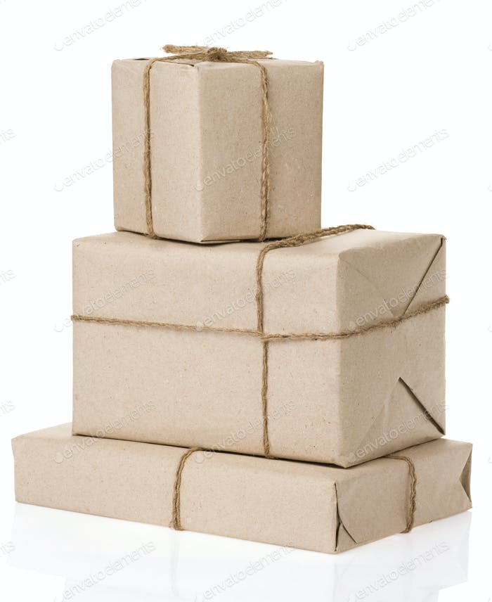 parcel wrapped with brown paper