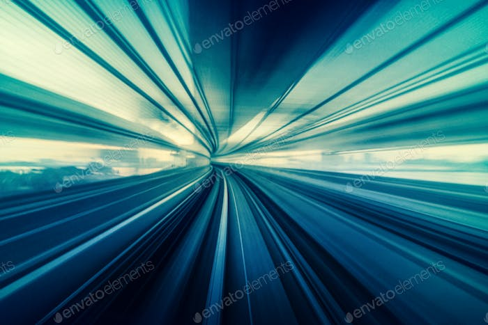 Abstract Moving Motion blur of Line moving between tunnel, futuristic and innovation technology