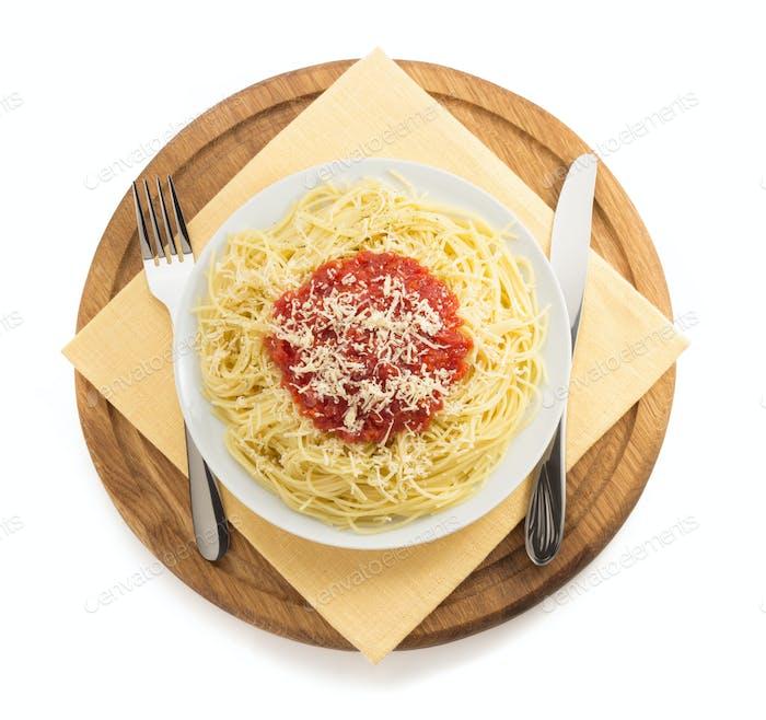 pasta spaghetti on white background