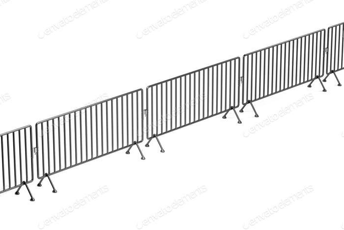Crowd control barriers on white background