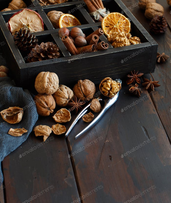 A box full of spices and nuts