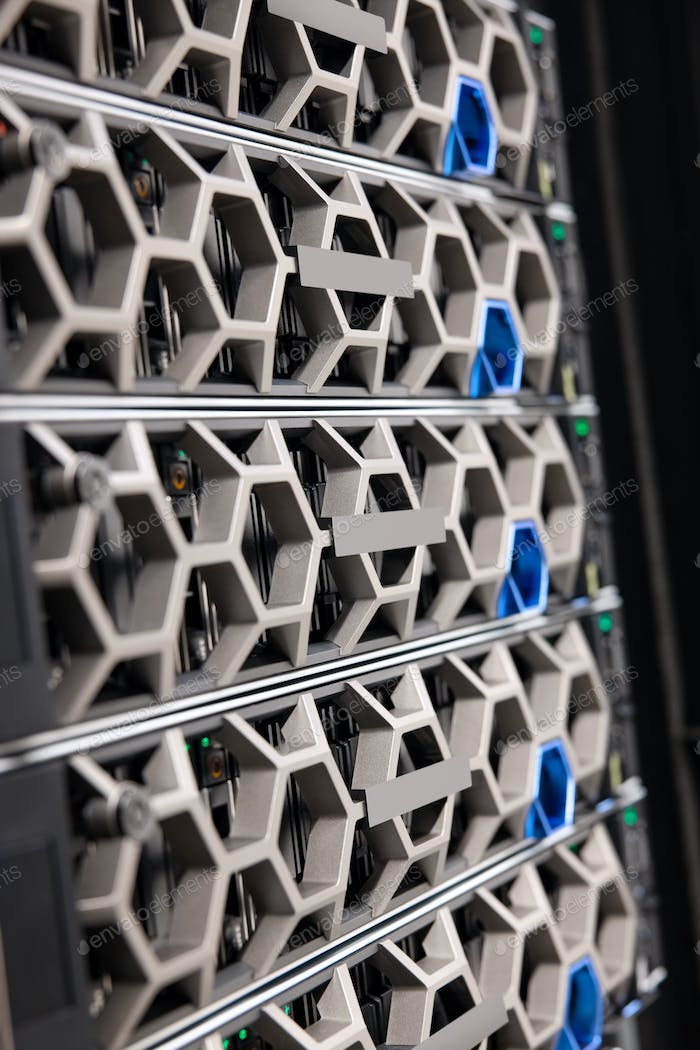 Virtual Server and Storage Hardware In Large Modern Hyperconverged Datacenter