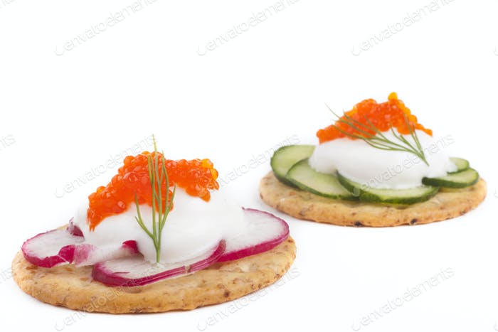 Caviar appetizer on Wite