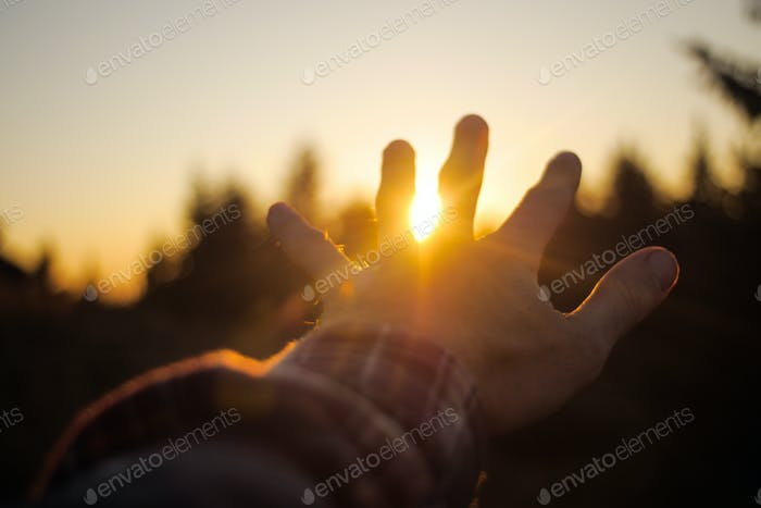 hand waving goodbye to the sunshine/sunset