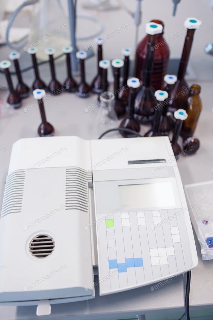 Close-up of a machine to analyze blood in laboratory