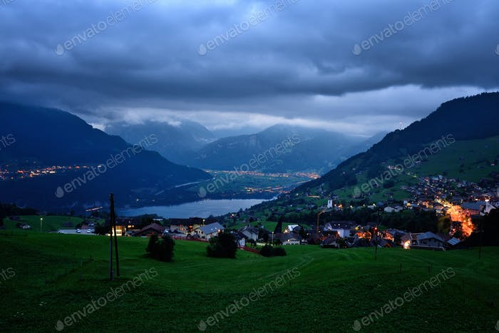 Fantastic evening view of the Lake Walensee. Dramatic and pictur