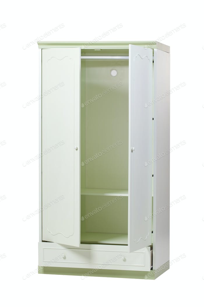 Two-section wardrobe with open doors isolated over white