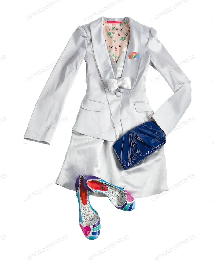 White tuxedo jacket and vest with skirt styling fashion composit