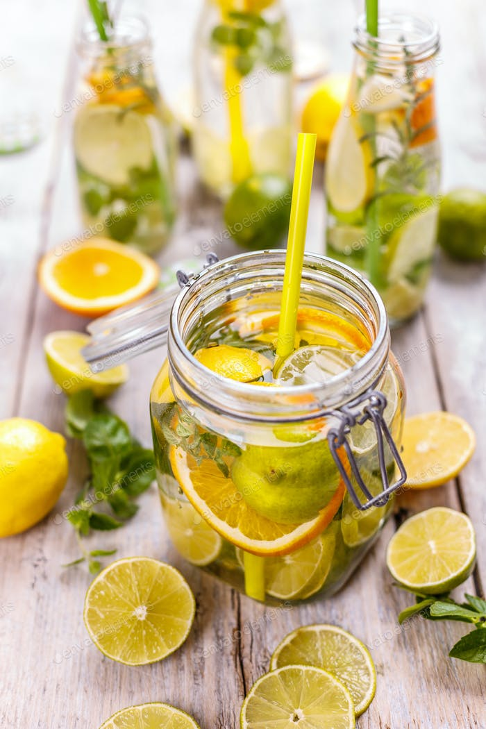 Lemon water with fresh lemon