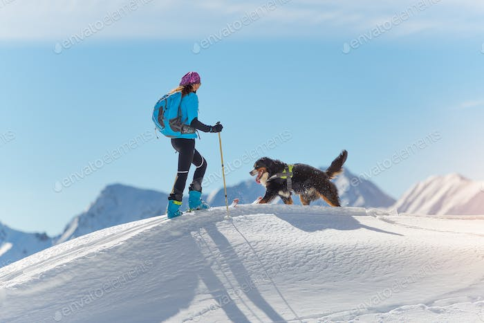 Girl on top of a mountain and his dog