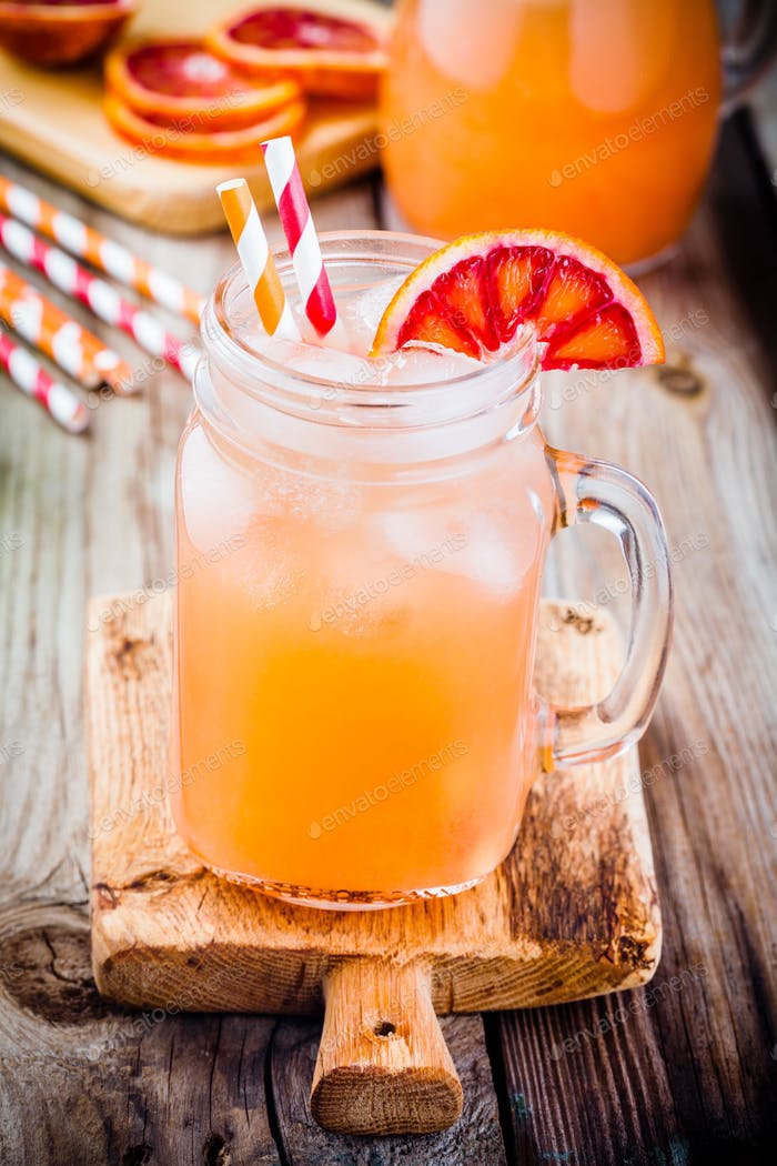 nonalcoholic blood orange cocktail in a glass jar