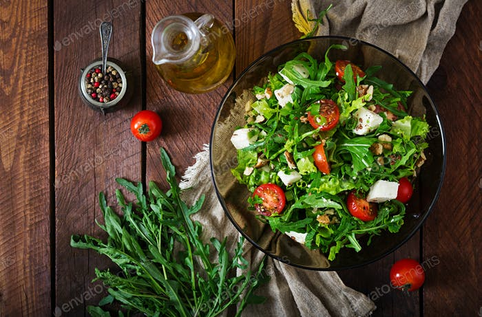 Vitamin Salad of fresh vegetables, herbs, feta cheese and nuts