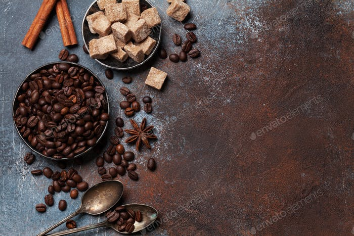 Coffee beans, sugar and spices