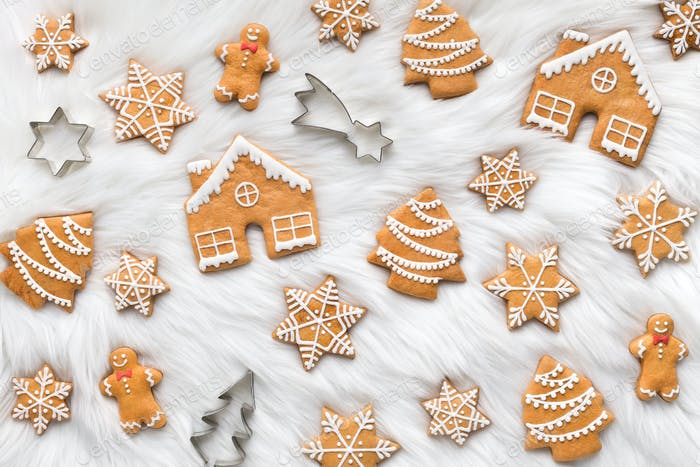 Christmas cookies on white background, top view