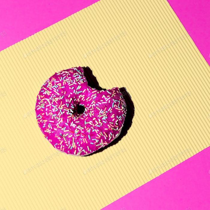 Pink donuts. Fashion Fast food minimal art Details Surreal