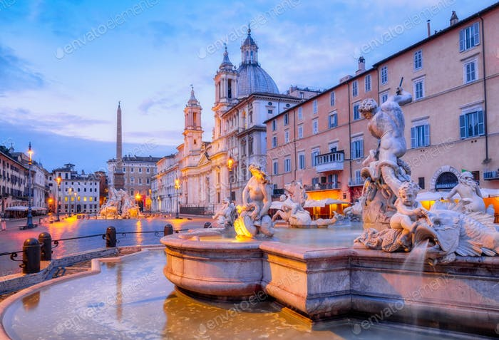 View of Piazza Navona and fountain before sunrise, Rome