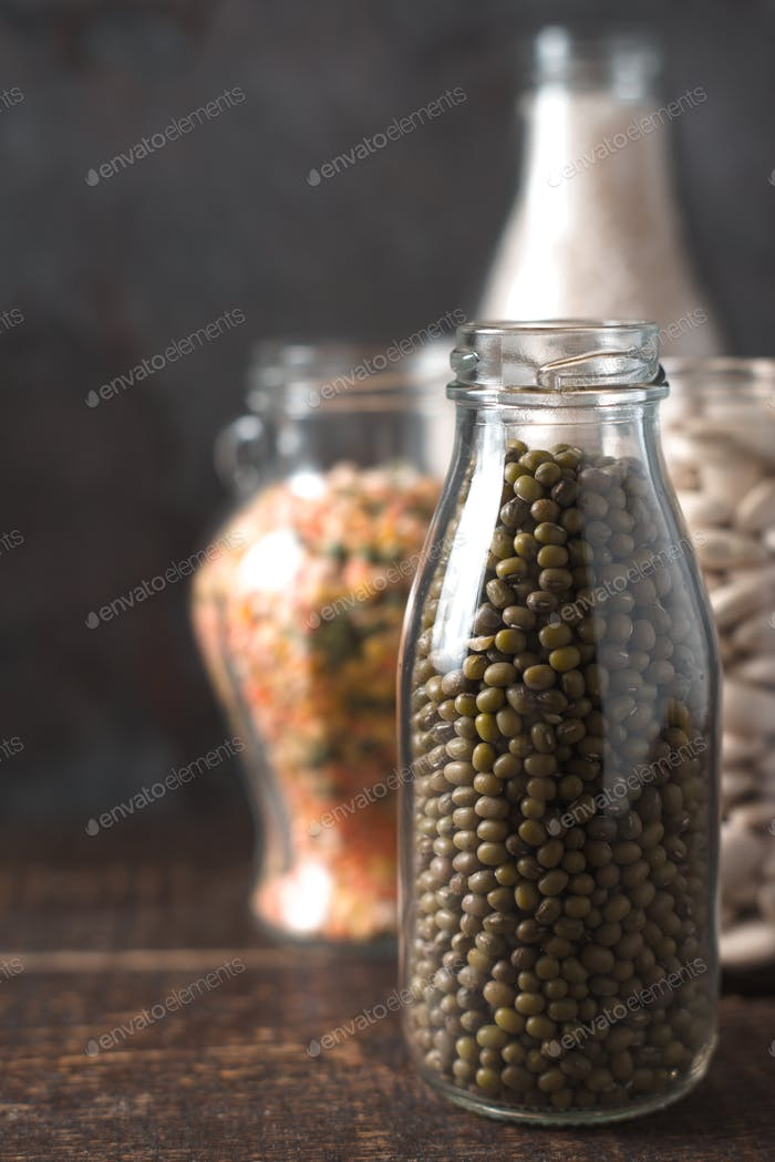 Banks with beans and lentils, rice in line