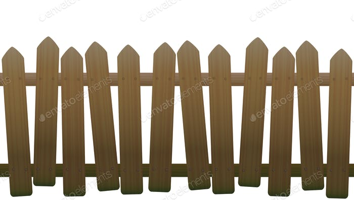 Old Unsteady Crooked Wooden Fence