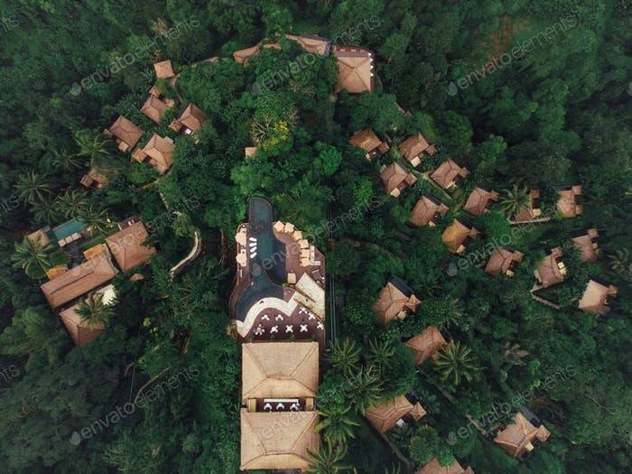 Luxury resort in tropical rain forest