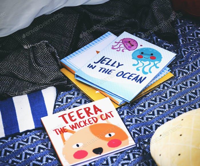 Closeup of children story books