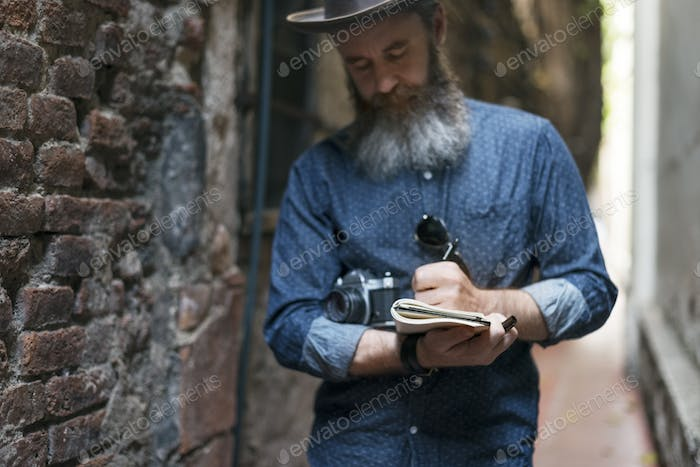 Man Hipster Journay Lifestyle Traveling Concept