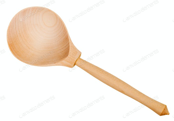 Draufsicht des einfachen Holzlöffel isoliert