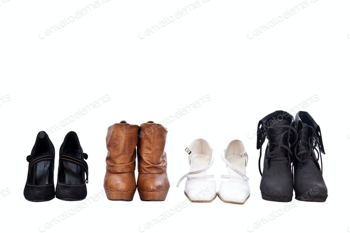Four pairs different shoes