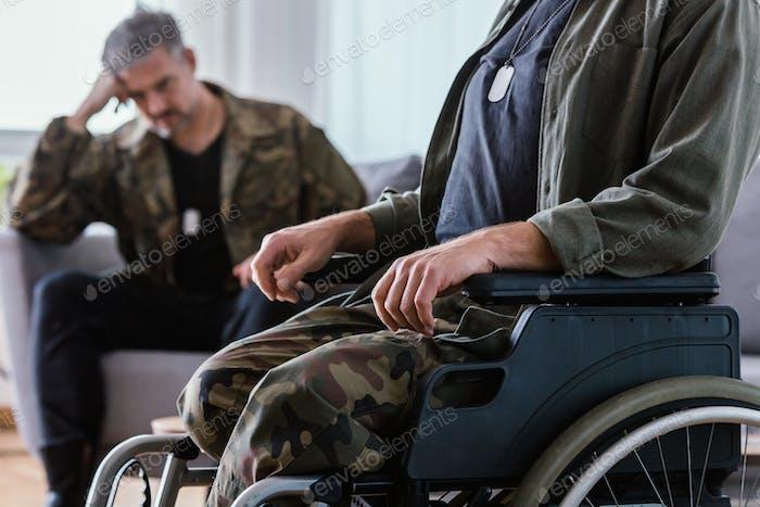 War veteran on wheelchair