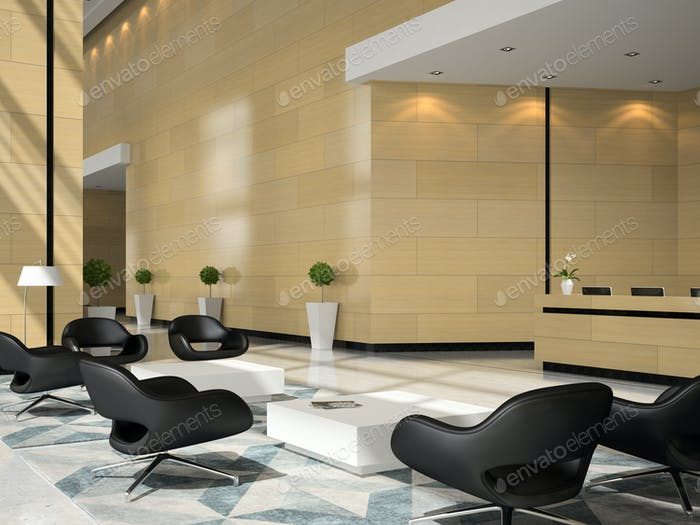 Interior de una recepción de hotel ilustración 3D
