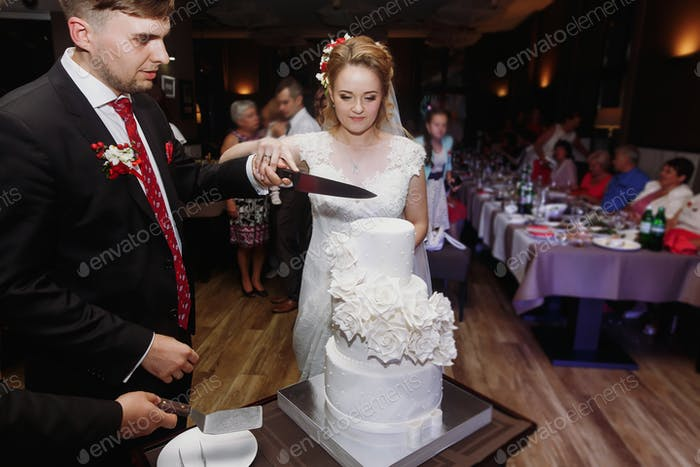 wedding couple cutting together their stylish cake with roses