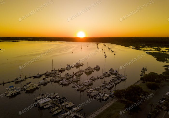 Aerial view of Beaufort South Carolina and sailboats at sunset.