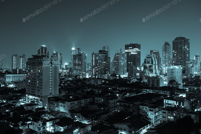 Bangkok aerial skyline view at night in Thailand