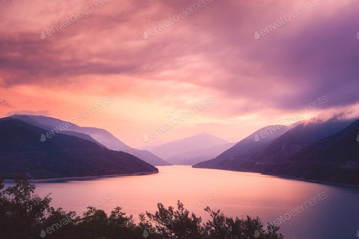 Sunrise landscape view of Zhinvali lake and mountains, Georgia