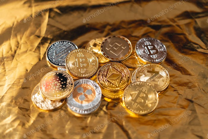 Cryptocurrency golden bitcoin image for crypto currency