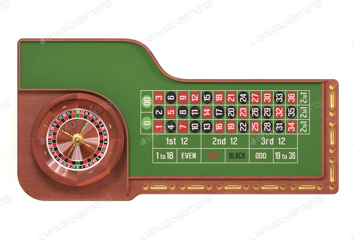 Roulette Table Over White