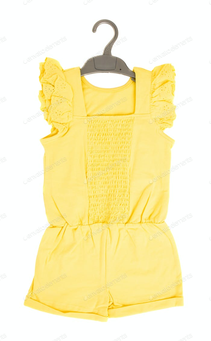 Yellow frilled coton overall.