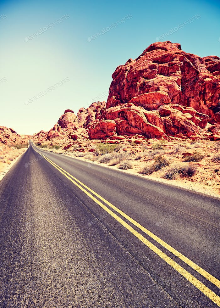 Deserted road, Valley of Fire, Nevada, USA.