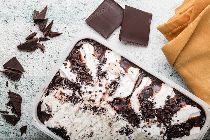 Ice Cream With Chocolate Chips. Refreshing Stracciatella Dessert. Copy space