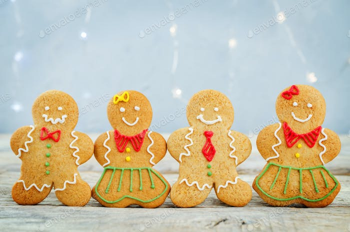 Gingerbread cookies on a light grey background for Christmas
