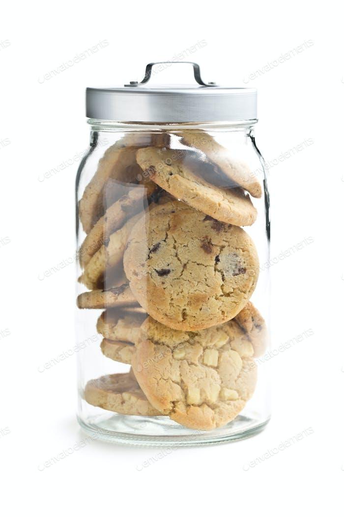 chocolate cookies in jar