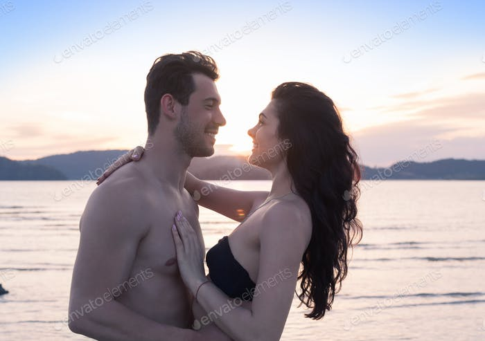 Couple On Beach Summer Vacation, Beautiful Young Happy People In Love, Man And Woman Smile