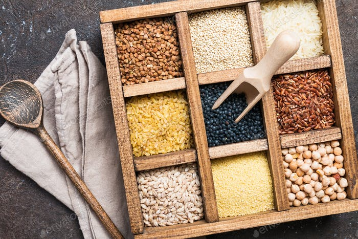 different cereals and seeds