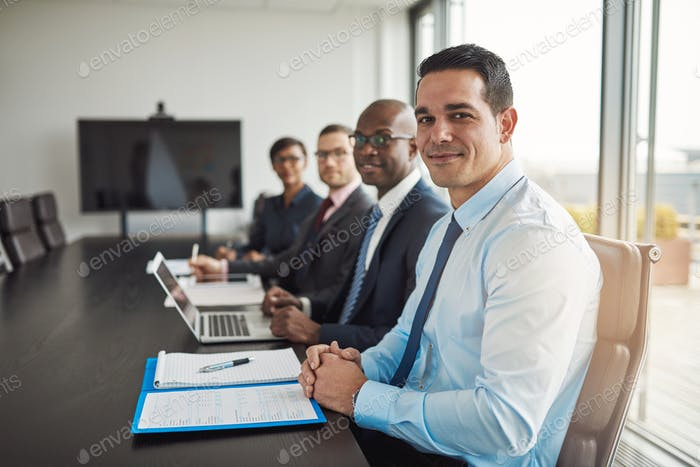 Multiracial executive business team in a meeting