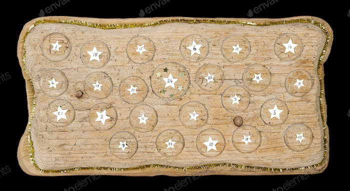 Advent calendar handmade from old timber