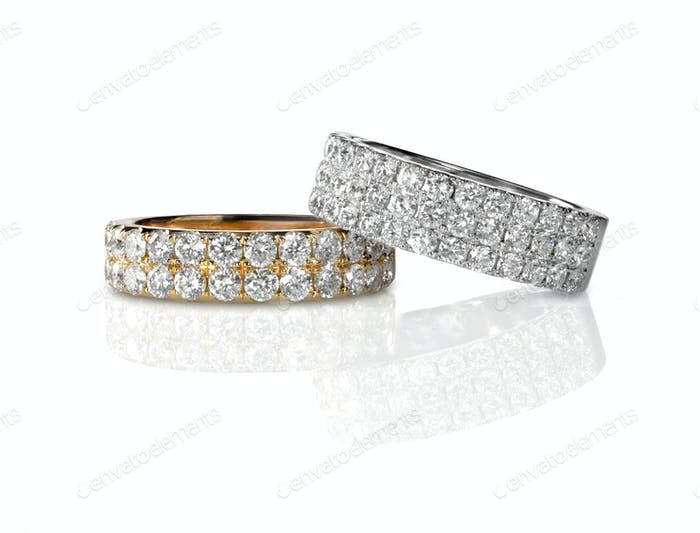 Cluster stack of diamond wedding engagment rings set pair